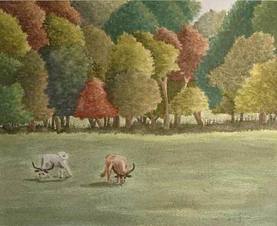 Steer Painting - Steers In An Open Field by Janita Hall-Swadley