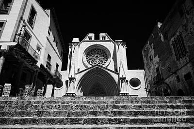 Front Steps Photograph - Steps Leading Up To Facade Of Tarragona Cathedral Catalonia Spain by Joe Fox