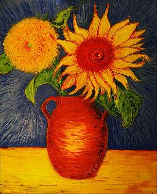 Still Life - Clay Vase With Two Sunflowers Print by Jose A Gonzalez Jr