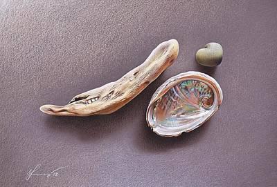 Mixed Media - Still Life With Abalone Shell by Elena Kolotusha