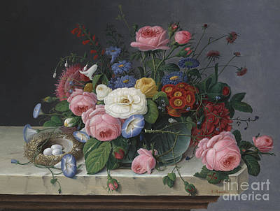 Still Life With Flowers And Birds Nest Print by Severin Roesen