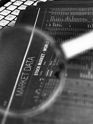 Computer Generated Photograph - Stock Market Figures And Magnifying Glass by Tek Image