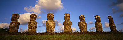 Stone Heads, Easter Islands, Chile Print by Panoramic Images