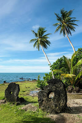 Stone Money On The Island Of Yap Print by Michael Runkel