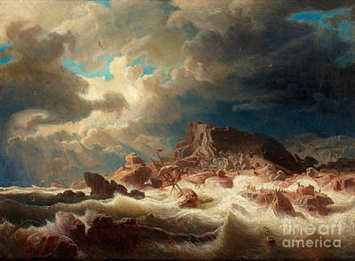 Marcus Painting - Stormy Sea With Ship Wreck by Celestial Images