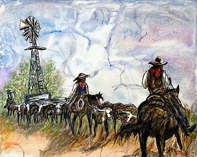 Cattle Drawing - Strange Sky by William L Buckingham - Digitally Mastered by Erich Grant -