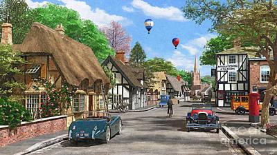 Street Cottage Lane Print by Dominic Davison