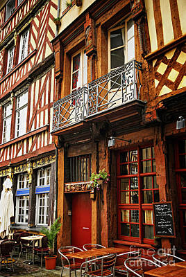 European Cafe Photograph - Street In Rennes by Elena Elisseeva