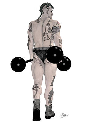 Strongest Man Tattooed Print by Quim Abella