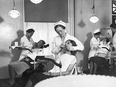 Students At A Dental School Print by Underwood Archives