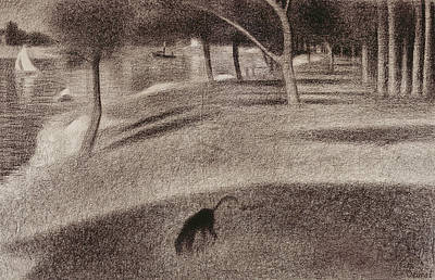 Crayons Tree Drawing - Study For Sunday Afternoon On The Island Of La Grande Jatte by Georges Pierre Seurat