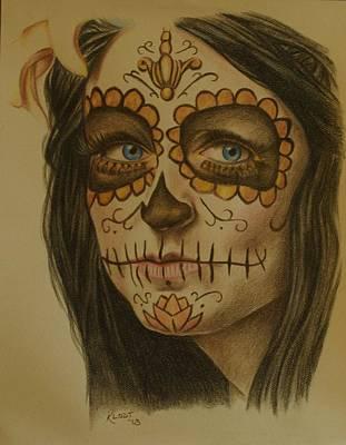 Sugar Skull Girl Drawing - Sugar Skull by Jered Klodt