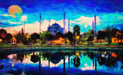 Oriental Painting - Sultan Ahmed The Blue Mosque by Celestial Images