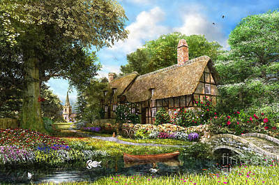Swans.. Digital Art - Summer Country Cottage by Dominic Davison