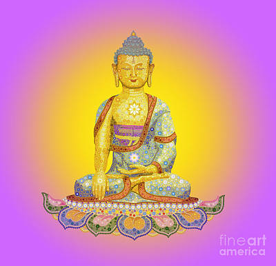 Awareness Digital Art - Sun Buddha by Tim Gainey
