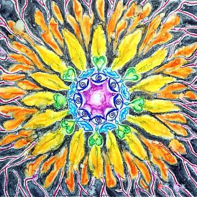 Sunflower Chakra Doodle Original by Christine Kfoury