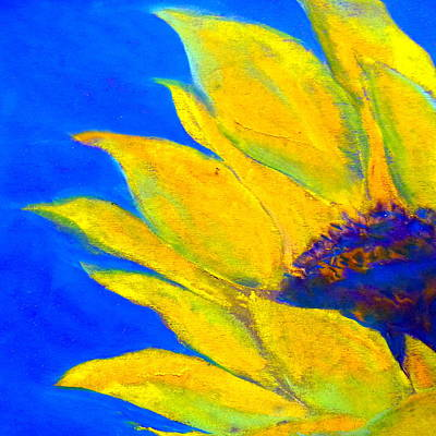 Loose Style Painting - Sunflower In Blue by Sue Jacobi