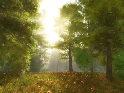 Dandelion Digital Art - Sunlit Meadow by Cynthia Decker