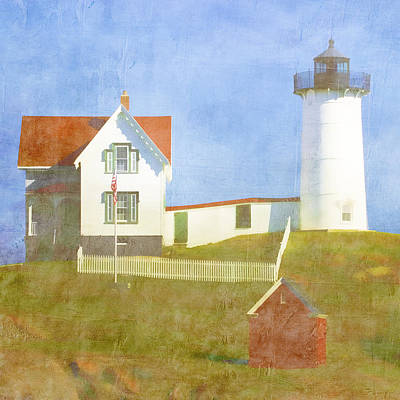 Sunny Day At Nubble Lighthouse Print by Carol Leigh