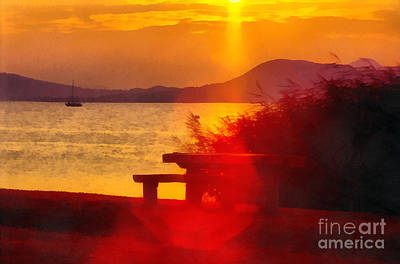 Water Filter Painting - Sunrise In The Balaton Lake by Odon Czintos