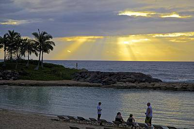 Ko Olina Lagoon Photograph - Sunset At The Lagoon by Eddie Freeman