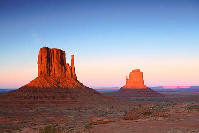 Sunset Buttes In Monument Valley Arizona Print by Katrina Brown