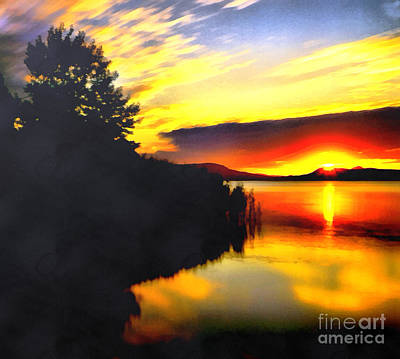 Water Filter Painting - Sunset In Balaton Lake by Odon Czintos