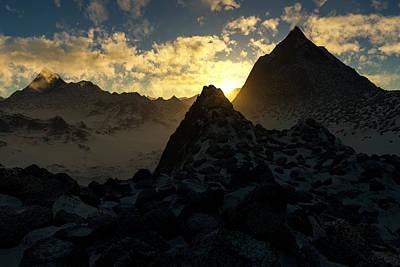 Sunset In The Stony Mountains Print by Hakon Soreide