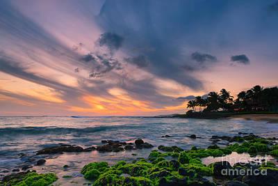 Sunset Poipu Beach - Kauai Print by Henk Meijer Photography