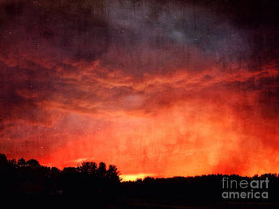 Sunset With Approaching Storm Print by HD Connelly
