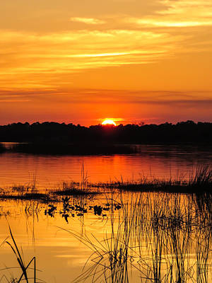 Colourfull Photograph - Sunset With Reflection by Zina Stromberg