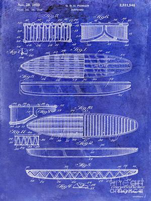 Hawaii Mixed Media - Surfboard Patent Drawing 1950 Blue by Jon Neidert