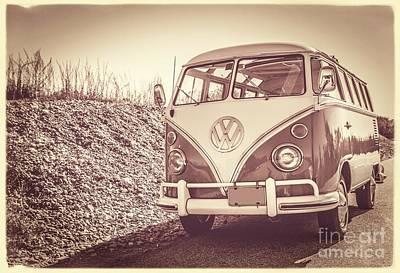 Surfer's Vintage Vw Samba Bus At The Beach Print by Edward Fielding
