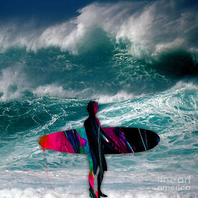 Surfing Print by Marvin Blaine