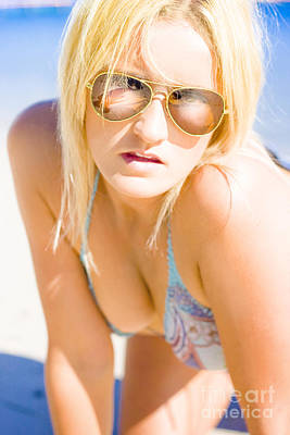 Suntan Photograph - Surprised And Thought Provoked Blond Woman On Beach by Jorgo Photography - Wall Art Gallery