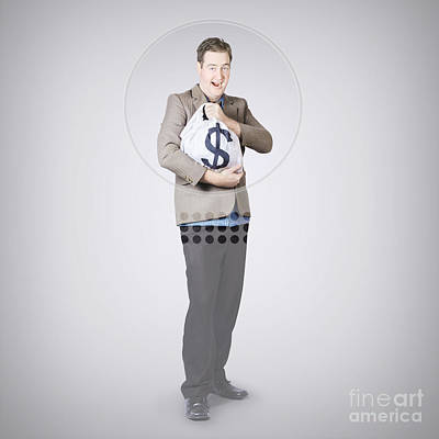 Surprised Business Man Holding Money Bag In Bank Print by Jorgo Photography - Wall Art Gallery
