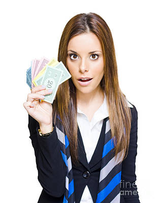 Surprised Young Business Woman Holding Fan Of Money Print by Jorgo Photography - Wall Art Gallery