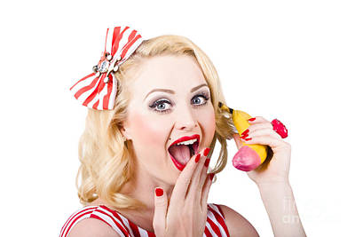 Red Lipstick Photograph - Surprising News On The Banana Phone by Jorgo Photography - Wall Art Gallery