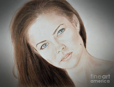 Beauty Mark Drawing - Actress And Model Susan Ward Blue Eyed Beauty With A Mole by Jim Fitzpatrick