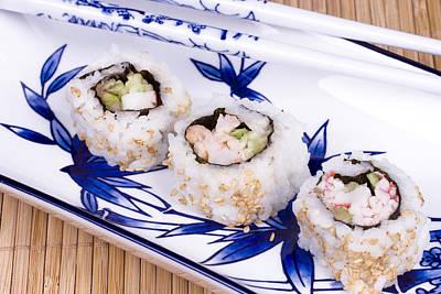 Ceramic Crab Photograph - Sushi Rolls On Ceramic Dishware by Joe Belanger