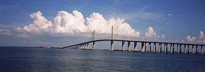 Sunshine Skyway Bridge Photograph - Suspension Bridge Across The Bay by Panoramic Images