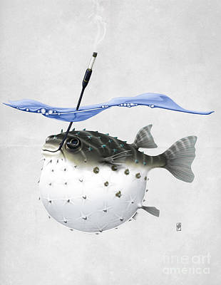 Puffer Fish Mixed Media - Take It Outside Wordless by Rob Snow
