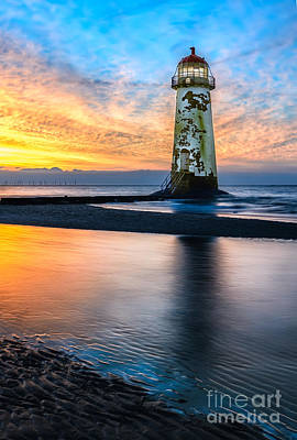 British Digital Art - Talacre Lighthouse Sunset by Adrian Evans