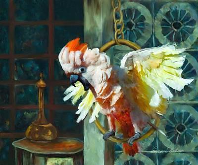 Cockatoo Painting - Tango The Moluccan Cockatoo  by Enzie Shahmiri