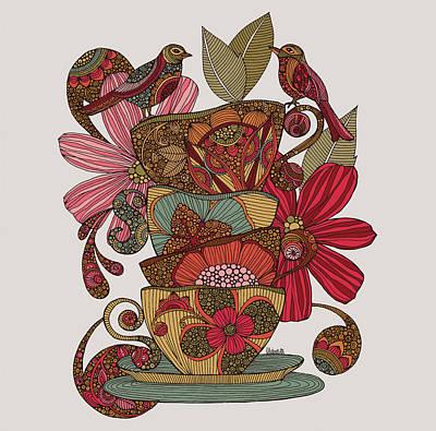 Teacups Photograph - Teacups And Birds by Valentina