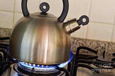 Photograph - Teapot On Gas Stove Burner by Sami Sarkis