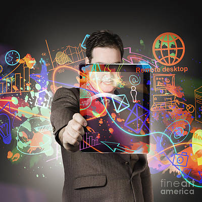 Technology Man With Network On Digital Tablet Print by Jorgo Photography - Wall Art Gallery