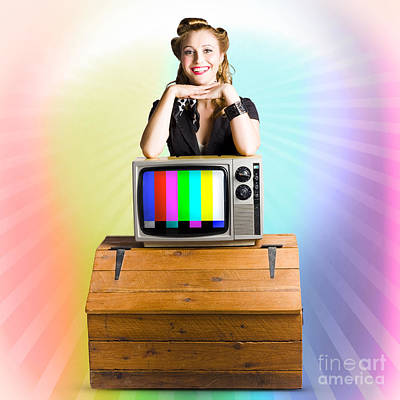 Technology Smart Pinup Woman On Retro Color Tv Print by Jorgo Photography - Wall Art Gallery