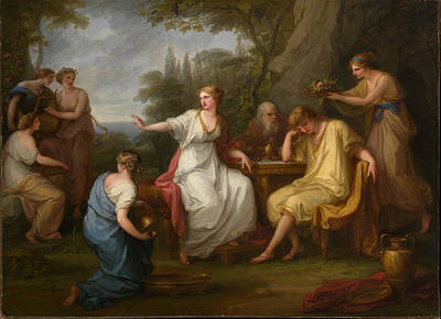 Calypso Painting - Telemachus And The Nymphs Of Calypso by Angelica Kauffmann