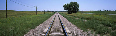 Telephone Poles Photograph - Telephone Poles Along A Railroad Track by Panoramic Images